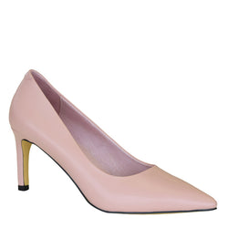 Kathryn Wilson women's calf leather heel in a pink colourway on a white background.