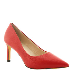 Kathryn Wilson women's leather pebble heel in a red colourway on a white background.