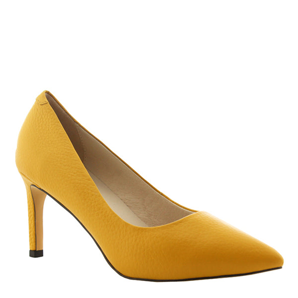 Kathryn Wilson women's leather heel in a canary colourway on a white background.