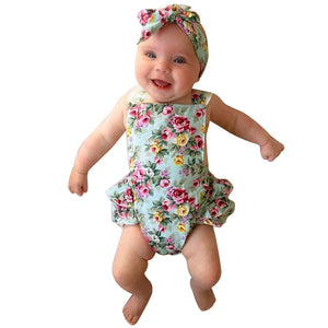 b6d5a4f8a9f5da Newborn Baby Clothes Floral Cotton Baby Rompers Baby Girl Romper Lace Floral  Overalls + Headband for Children Baby Clothes 6-24M