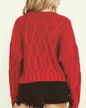 Diamond Cable Knit Sweater