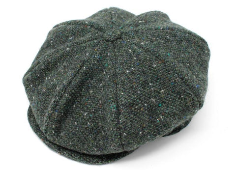 Eight Piece Cap Tweed Dark Green Fleck Salt & Pepper