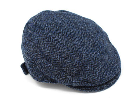 Children's Cap Harris Scottish Tweed Classic Blue and Black Herringbone