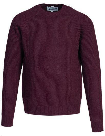 Ribbed Wool Crewneck Sweater Burgundy SW1936