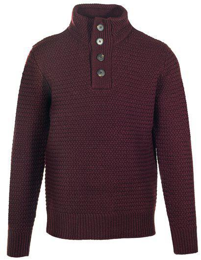 Funnel Neck Military Sweater Burgundy SW1614