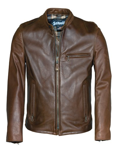 530 Waxed Natural Pebbled Cowhide Café Leather Jacket