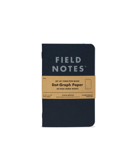 Field Notes Pitch Black Dot Graph 3 Pack