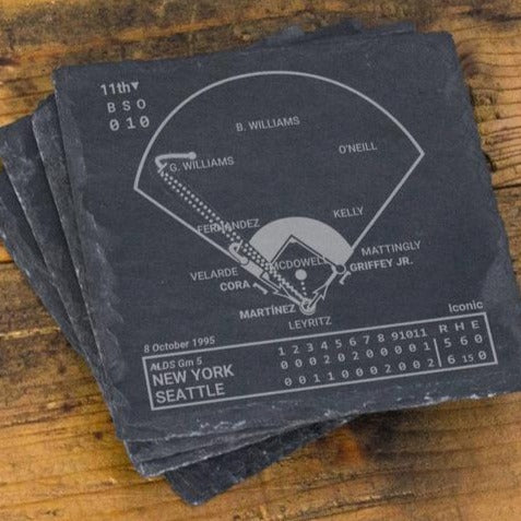 Greatest Mariners Plays Slate Coasters (Set of 4)