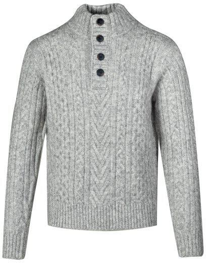 Triple Blend Cableknit Henley Sweater Cloud Grey SW2014