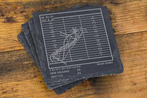 Greatest Seahawks Plays Slate Coasters (Set of 4)