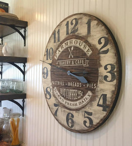"Farmhouse Oversized Bakery Wall Clock 36"" - The Urban Barn Shop"