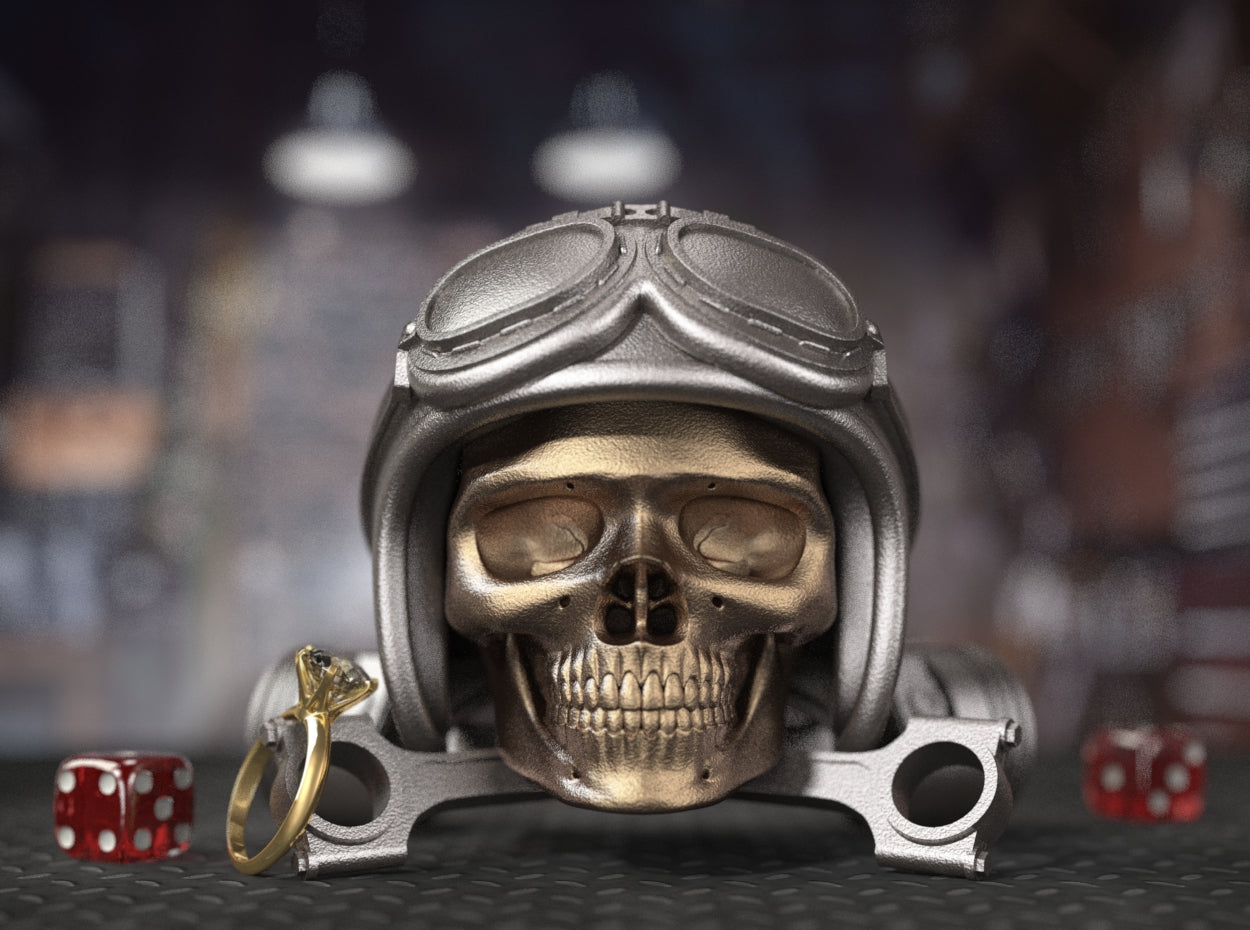 Easy Rider Motorcycle Style Skull Ring Box