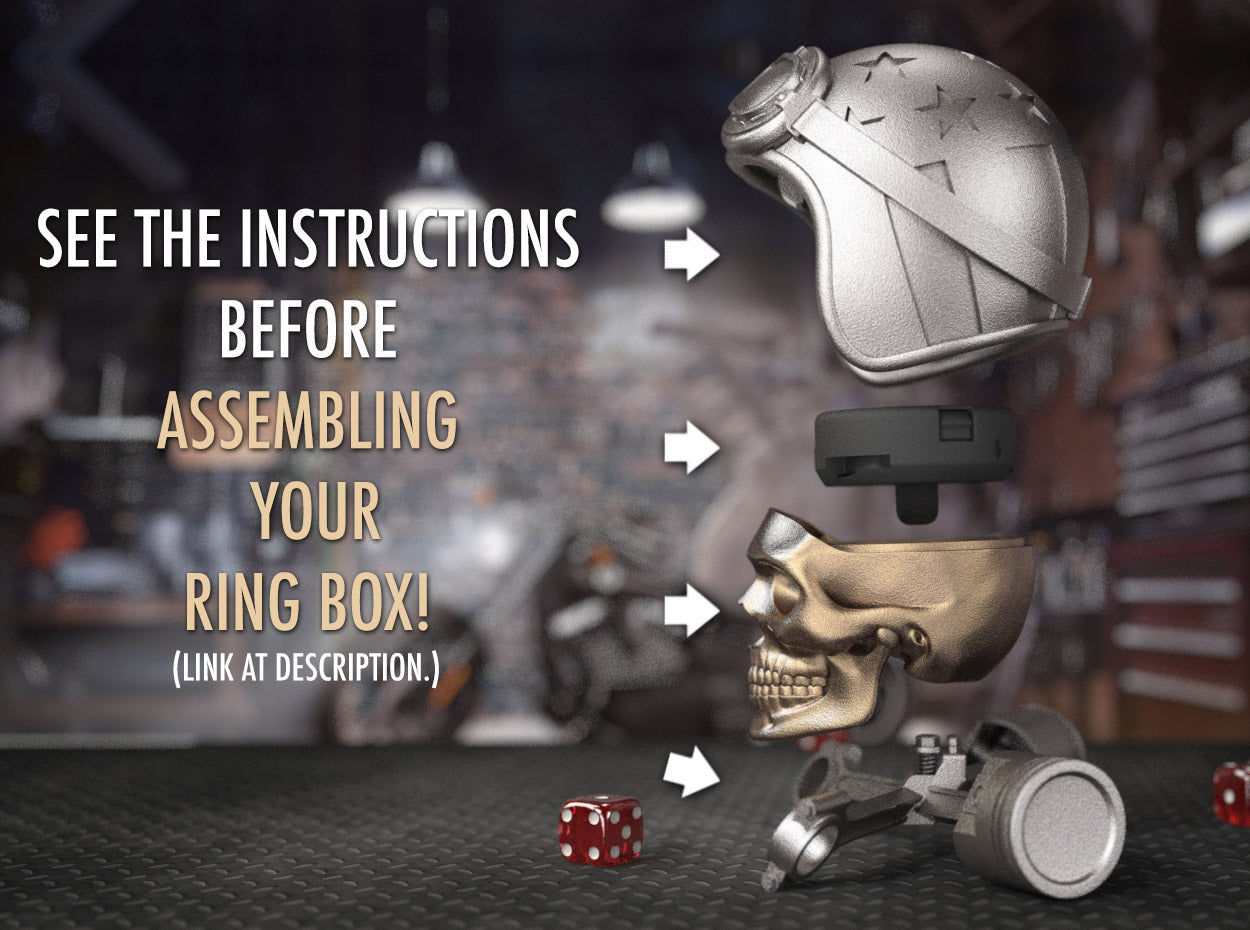 Easy Rider Motorcycle Style Skull Ring Box Assembly