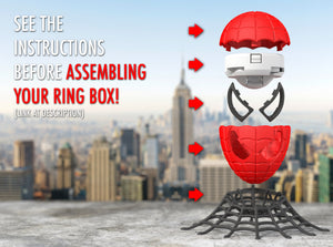 Spider Superhero Style Wedding Ring Box Assembly