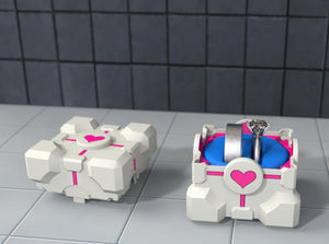 Companion Cube Gamer Ring Box with Double Mix Ring Holder