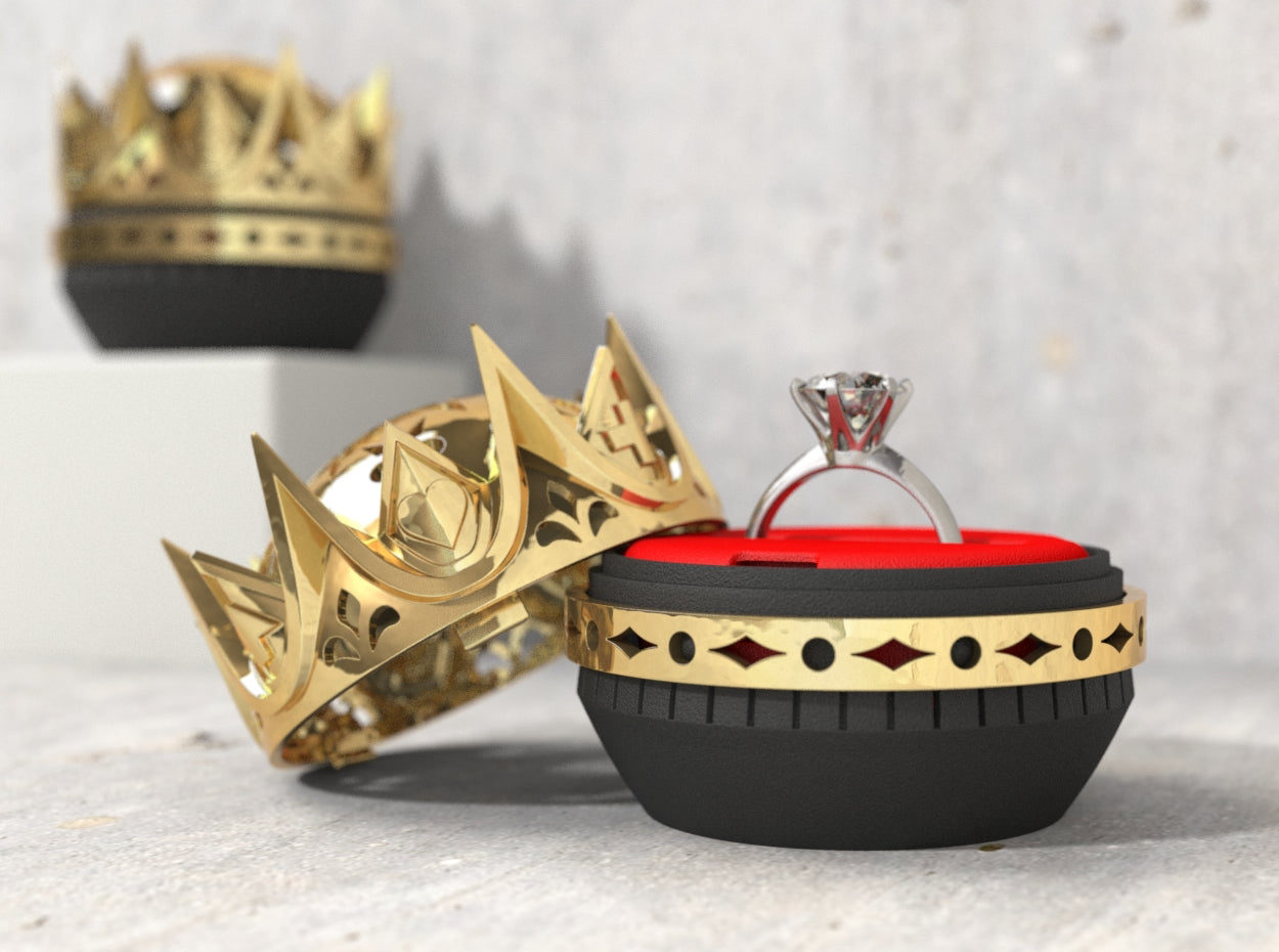 Royal Love Crown Wedding Ring Box with Single Ring Holder