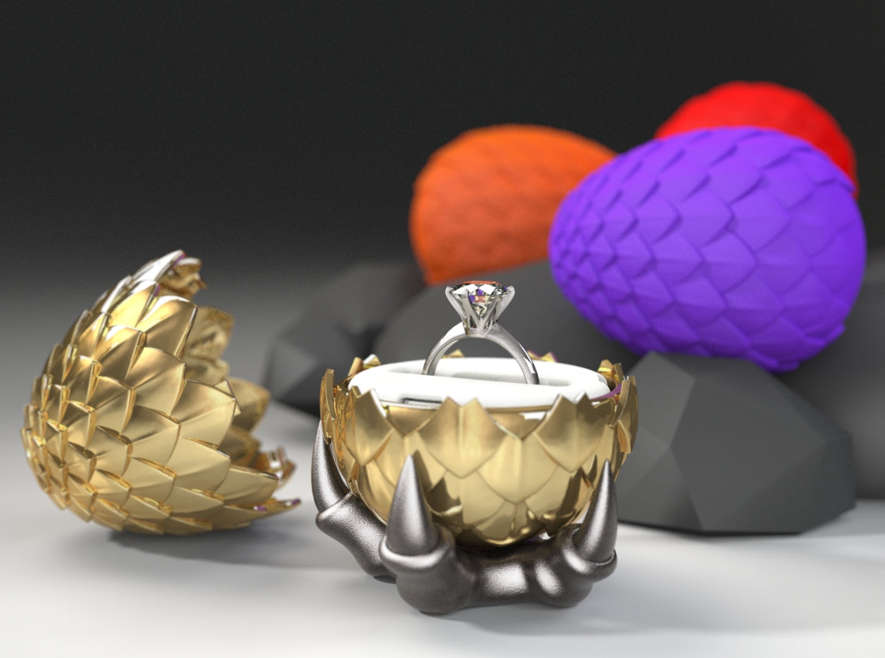 Dragon Egg Nerdy Ring Box in Polished Brass