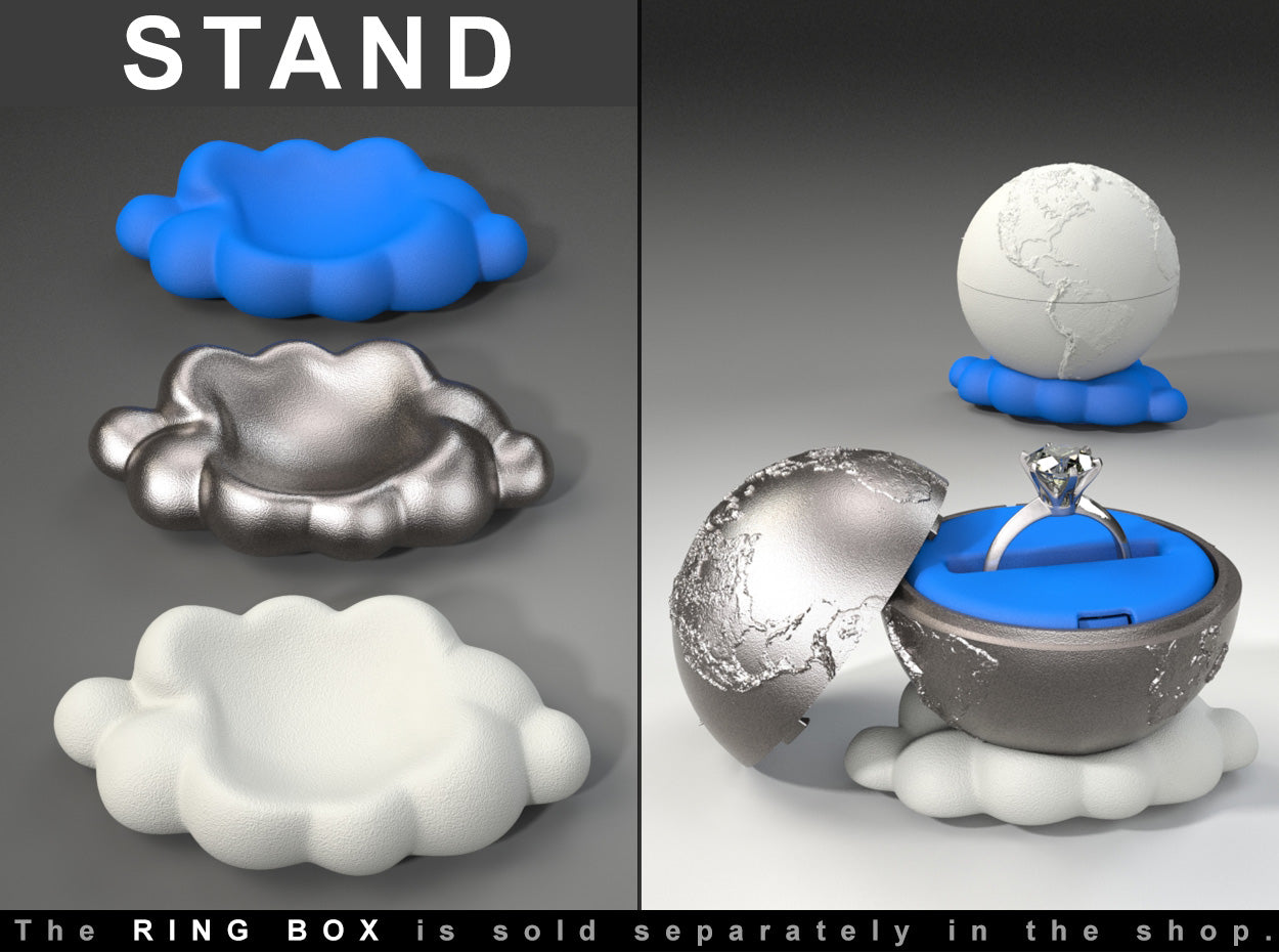 CLOUD STAND to the Earth Planet Ring / Jewel Box - For Proposal, Engagement, and Wedding.