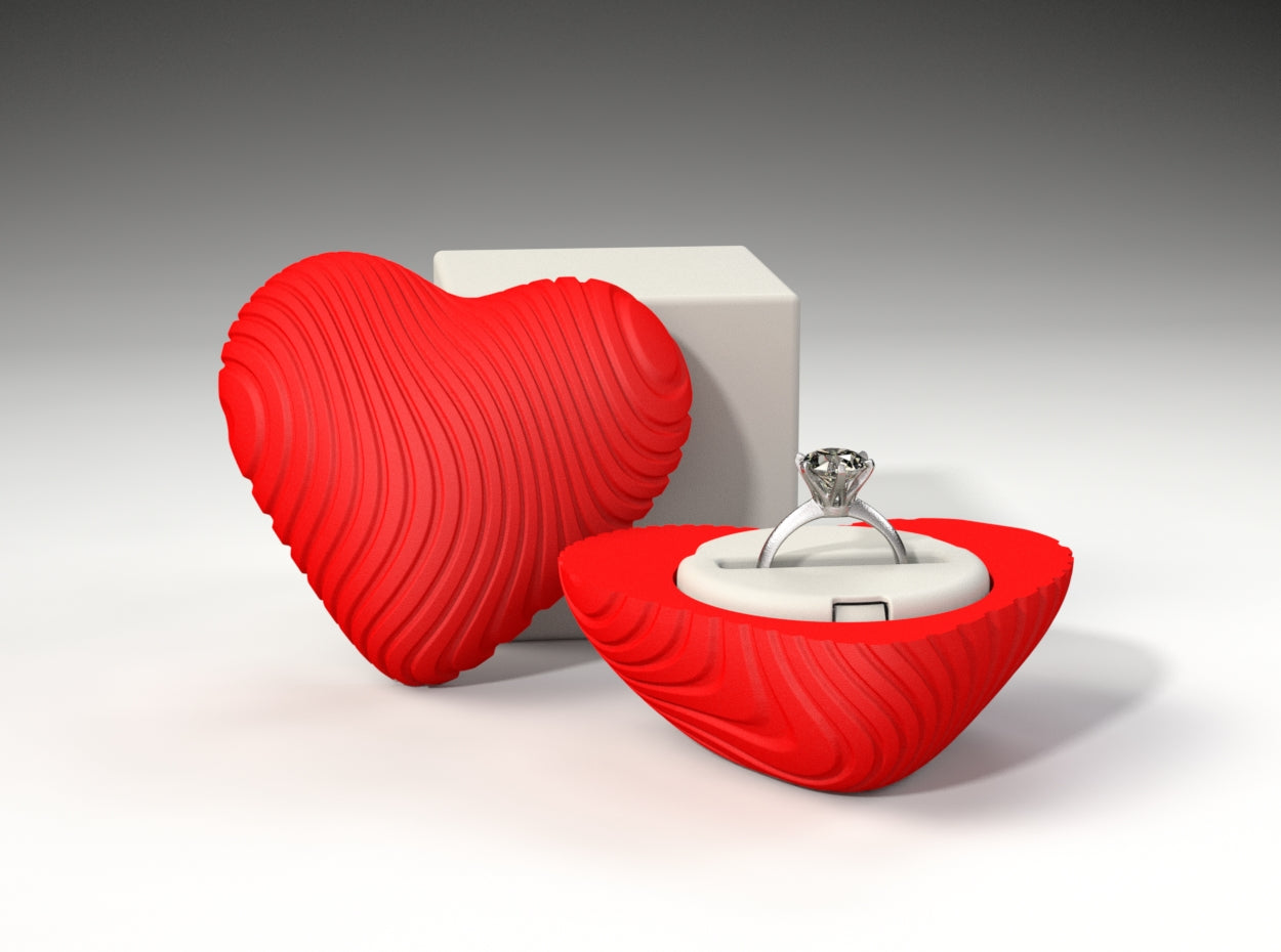 Coral Heart Ring / Jewel Box - For Proposal, Engagement, and Wedding.