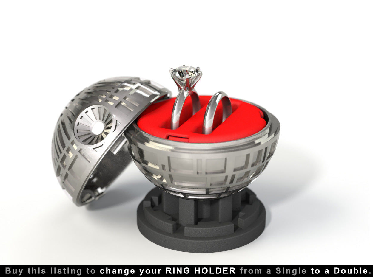 Black Star Proposal Ring Box with Double Ring Holder