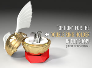 Coral Snitch Wedding Ring Box with Double Ring Holder