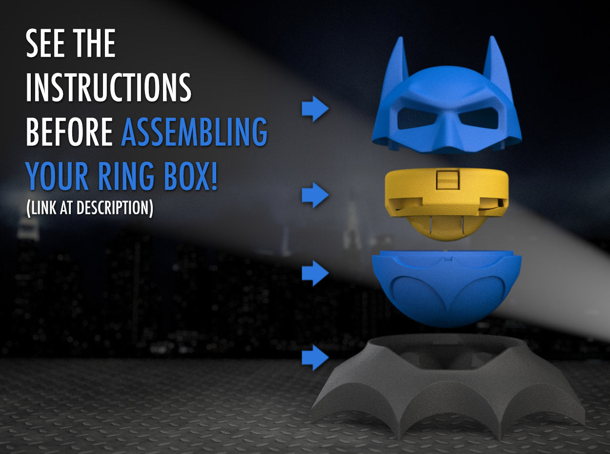 Bat Superhero Style Wedding Ring Box Assembly