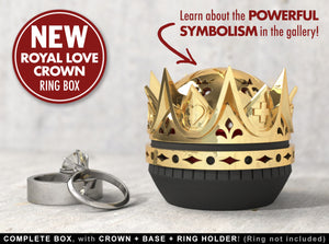 Royal Love Crown Ring / Jewel Box - For Proposal, Engagement, and Wedding.