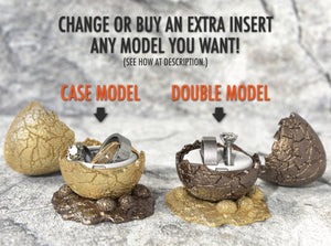 Dinosaur Egg Wedding Ring Boxes with Case and Double Ring Holder