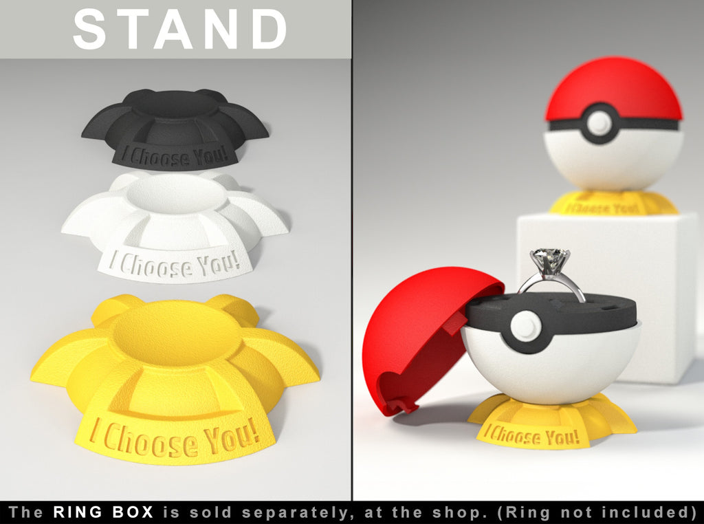 STAND for Pokeball Pokemon Go Ring Box - For Proposal, Engagement, and Wedding.