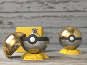 Pokeball Gamer Nerdy Ring Box