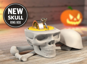 Skull Gothic Nerdy Ring Box in White Plastic and Double Ring Holder