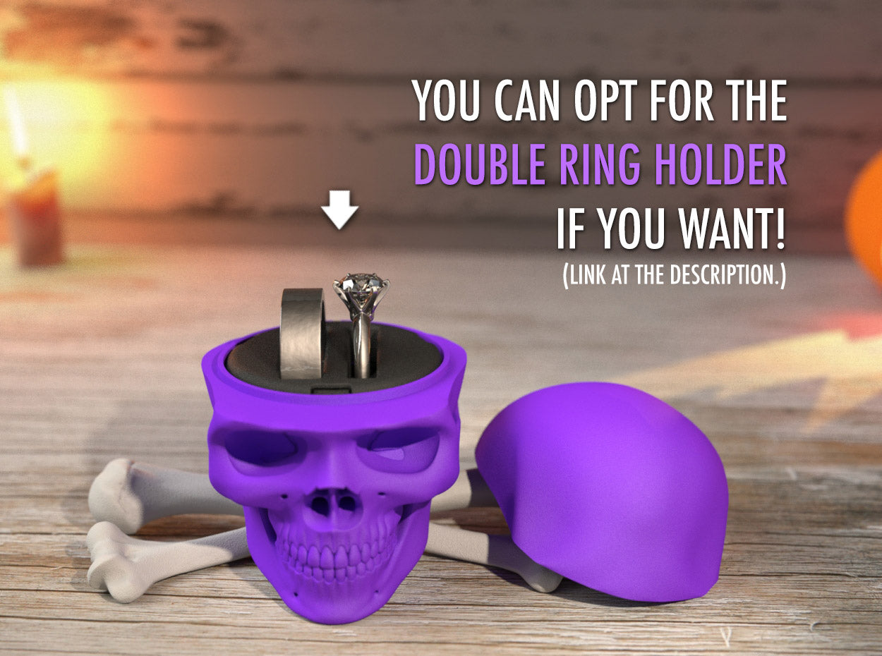 Skull Wedding Ring Box with Double Ring Holder