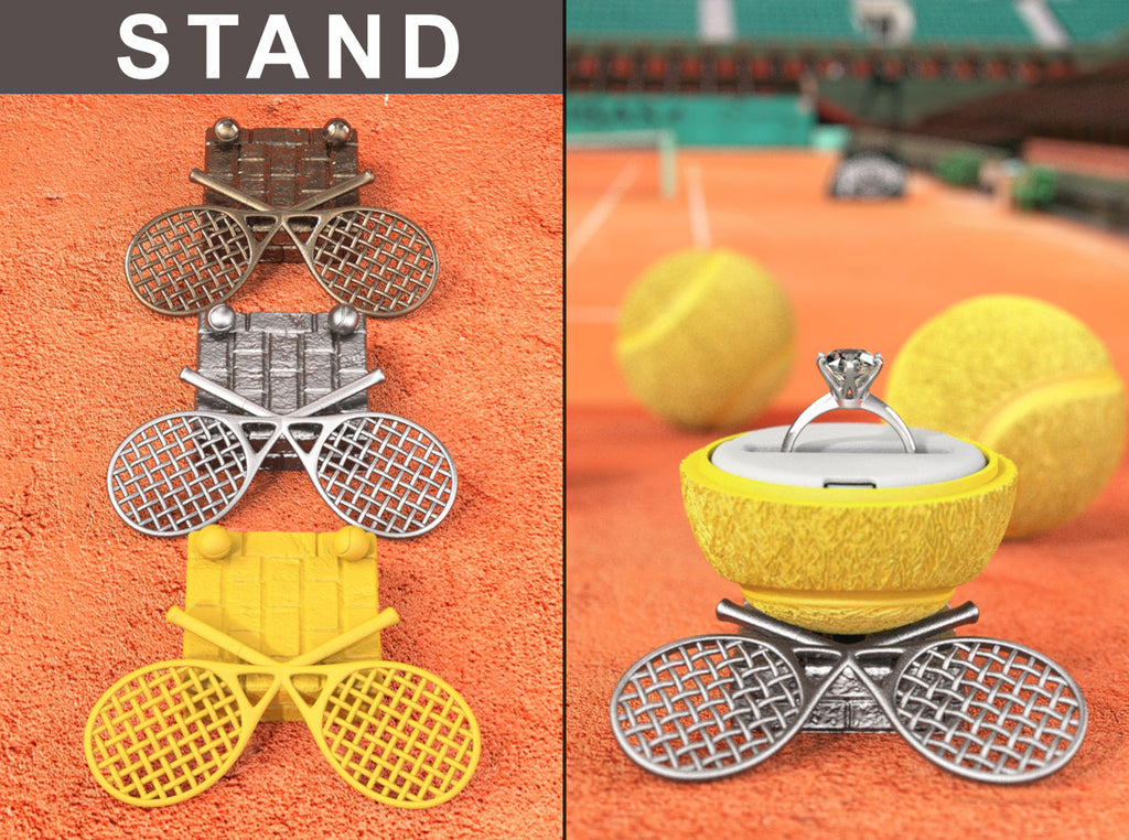 Rackets Stand for the Tennis Ball Sports Engagement Ring Box
