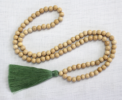 Tassel Necklace - Natural Wood and Moss