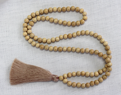 Tassel Necklace - Natural Wood and Nude