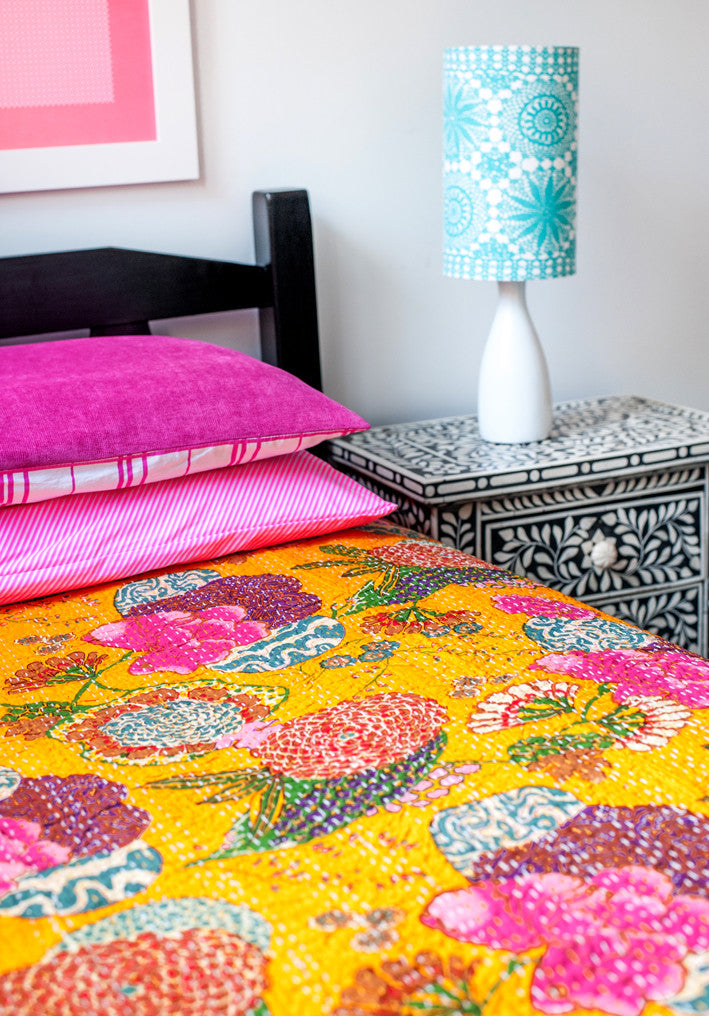 Fruit Kantha Single Quilt - Gold