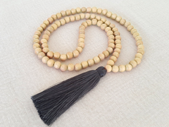 Tassel Necklace - Natural Wood and Pewter