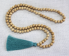 Tassel Necklace - Natural Wood and Teal