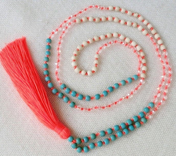 Tassel Necklace - Turquoise, Cream & Neon Coral