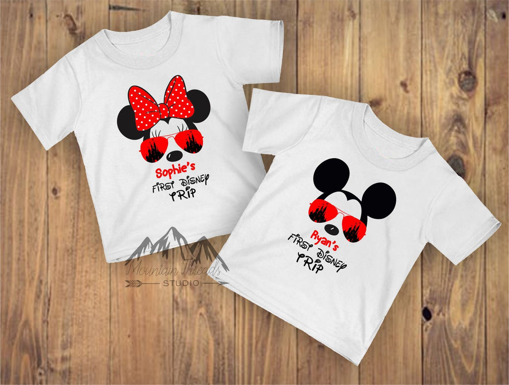 FAST SHIPPING My First Trip Disney Personalized Shirt Boys Shirts Girls Toddler Youth