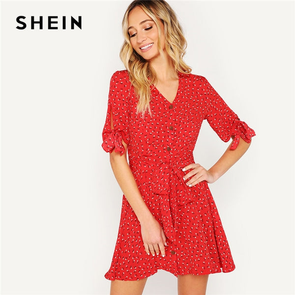 a66542ce26 ... SHEIN Red Knot Cuff Button Up Ditsy Floral Print Belted Summer Boho  Dress Women V-