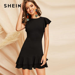 f526025b80 SHEIN Elegant Black V-Back Layered Ruffle Hem Flutter Sleeve Summer Party  Dress Women Solid
