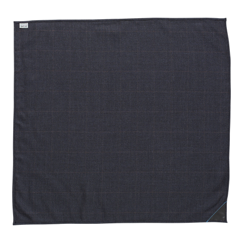 NAVY/CHARCOAL CHECK _blk label silk/wool NECKERCHIEF