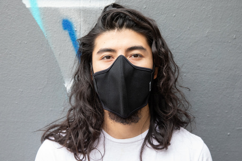 LONG 3 layer black wool crepe MASK