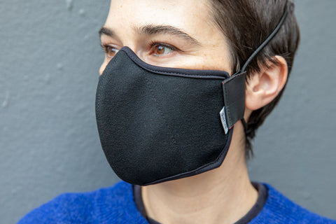 3 LAYER black wool crepe MASK