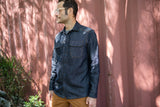 INDIGO denim cotton / linen button - up shirt