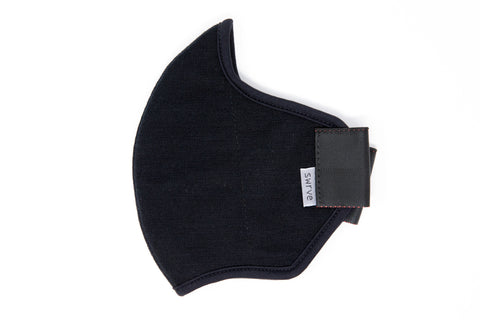 LONG 4 layer black ponti wool MASK