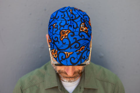 blue + orange Kenya caps
