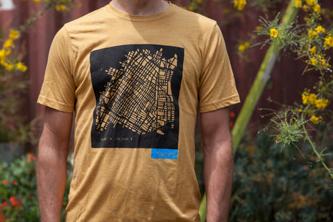 screen printed DTLA block print summertime t-shirt