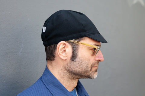 BLACK wool crepe CAP